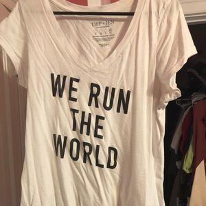 Tops - We Run The World glitter tee